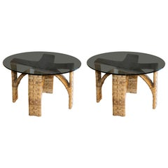 Pair of Woven Bamboo/Rattan Round Side Tables, Glass Top, Italy, 1960s