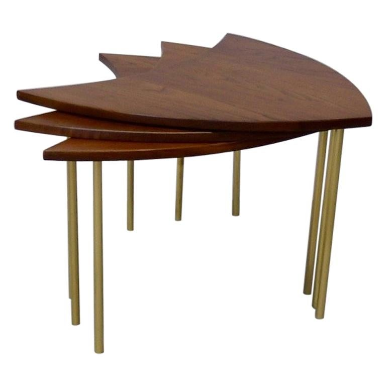 Three Teak with Brass Leg Peter Hvidt Olga Molgaard Flying Wedge Stack Tables For Sale