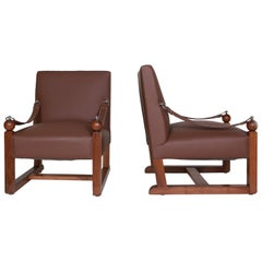 In the Style of Jacques Adnet, Twin Chairs, circa 1950