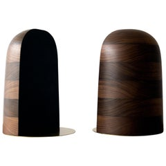 Bookends in Walnut and Brass