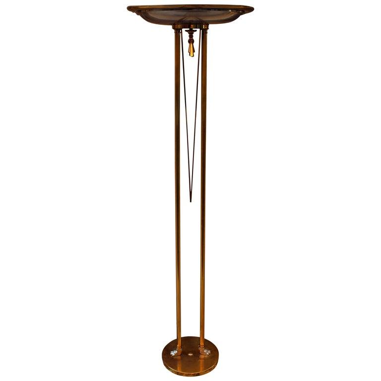 Italian Brass Floor Lamp, Floor Uplighter, 1970s