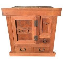 Japanese Fine Antique Small Wood Tansu Storage Cabinet Chest, Fine Grain Kodansu