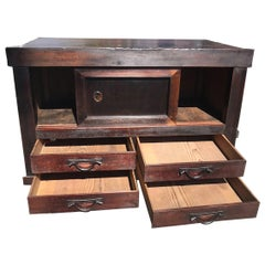 Japanese Fine Antique Tansu, Handcrafted Wood Storage Cabinet Chest