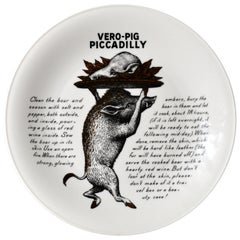 Piero Fornasetti Fleming Joffe Porcelain Recipe Plate-Vero-Pig Piccadilly, 1960s
