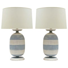 Pair of Painted Blue and White Striped Wood Lamps, Italy, Contemporary