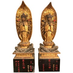 Japan Superb Pair of Gold Giltwood Guan Yin Kanons, Admiration & Prayer, Signed