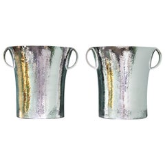 Pair of Art Deco Italia Silver Wine Coolers by Paolo Scavia, 1950s