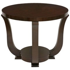 French Art Deco Circular Walnut Table with Curved Supports, circa 1940s