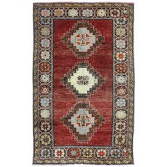 Vintage Turkish Oushak Rug with Modern Style, Entry or Foyer Rug
