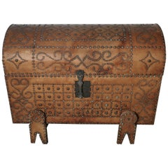 Spanish Dome Top Leather Brass Studded Marriage Chest or Travel Trunk
