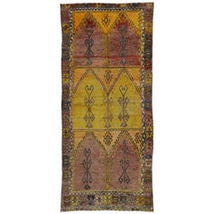 Vintage Turkish Oushak Gallery Rug with Tribal Style, Wide Hallway Runner