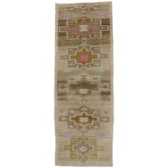 Vintage Turkish Painted Oushak Kars Wide Runner with Contemporary Tribal Style