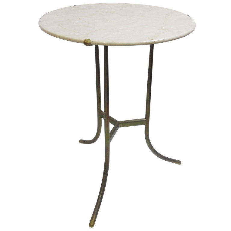 Cedric Hartman Side Table in Crema Marble and Brass
