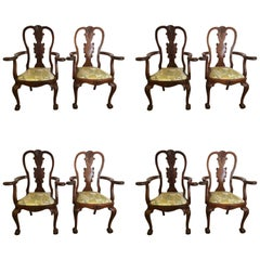 Set of Eight Antique Queen Anne Style Dining Chairs