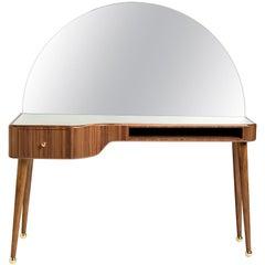21st Century American Walnut Veneer Vanity Desk with Mirror