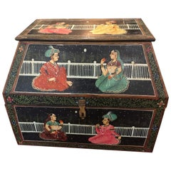Magical Antique Indian Large Odd Shaped Hand-Painted Treasure Box