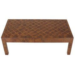 Burl Wood Marquetry Italian Modern Rectangle Coffee Table on Square Legs