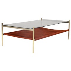 Duotone Rectangular Coffee Table, Brass Frame / Smoked Glass / Rust Suede