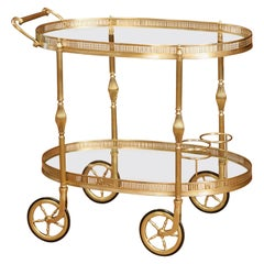 Early 20th Century French Oval Brass Desert Table or Bar Cart on Wheels