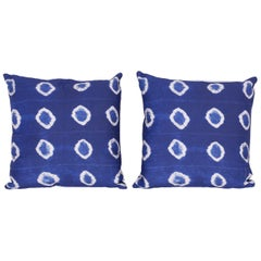 Pair of Indigo Reverse Pattern Pillows