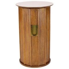 Round Cylinder Shape Pedestal Bar Cabinet Storage Cabinet with Brass Hardware