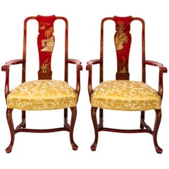 Pair of 1930s Queen Ann Style Chinoiserie Armchairs