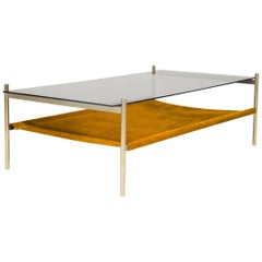 Duotone Rectangular Coffee Table, Brass Frame / Smoked Glass / Saffron Suede