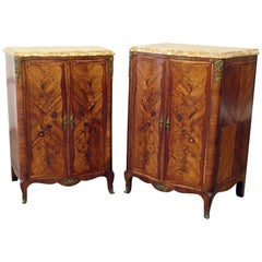 Pair of Maison Jansen Inlaid Marble-Top Commodes