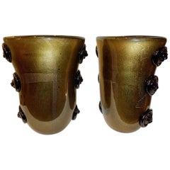 Cenedese Vintage Pair of Pure Gold and Black Murano Glass Vases with Lion Heads