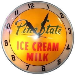 1950s Pine State Ice Cream and Milk Advertising Double Bubble Clock
