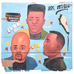 """Mr. Man"" African Hand-Painted Barbershop Sign"