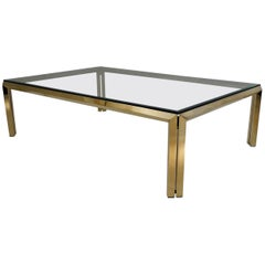 Maison Charles by Philippe Parent, Large Brass Coffee Table, 1970s, French