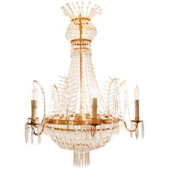 1920s Large French Empire Style Bronze and Crystal Chandelier