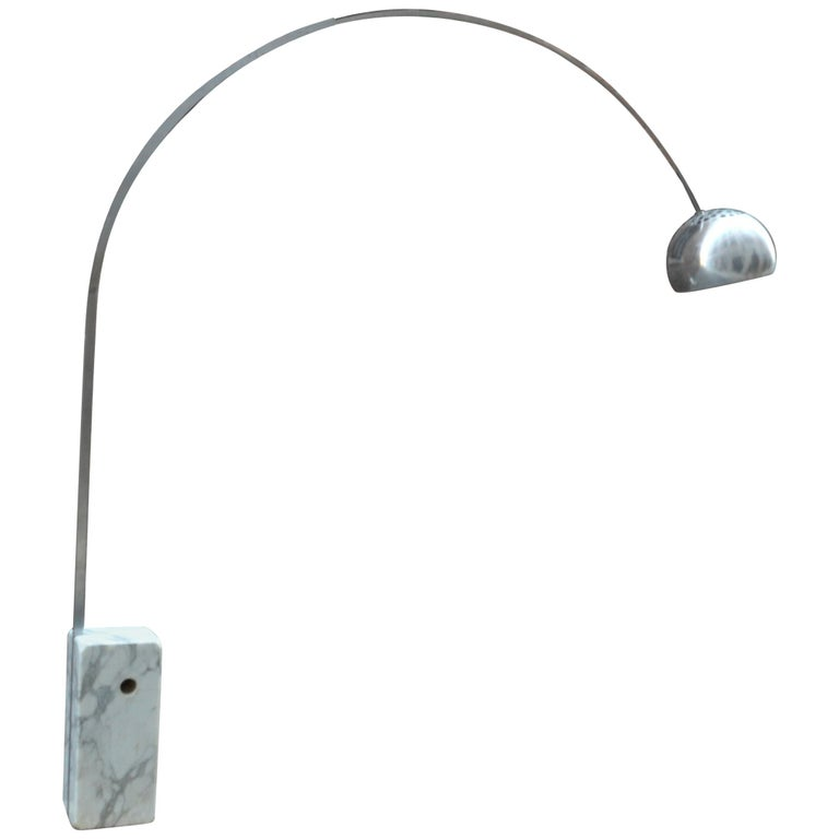 Castiglioni Arco Floor Steel and White Marble Base Lamp for Flos, 1960s
