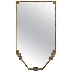Gold Gilt Metal Framed Shield Shape Mirror, France, 1930s