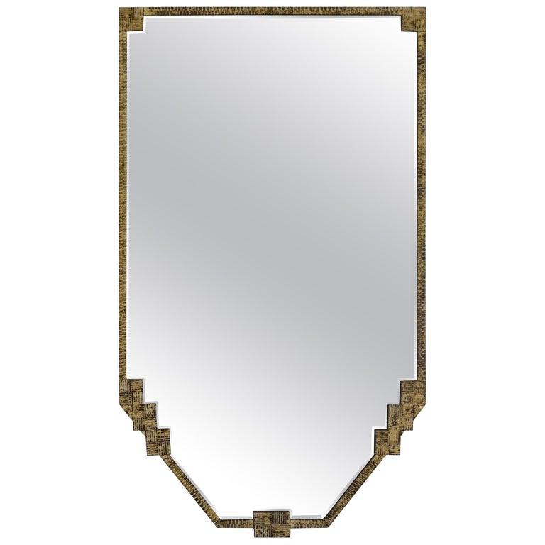Gold Gilt Metal Framed Shield Shape Mirror, France, 1930s For Sale ...