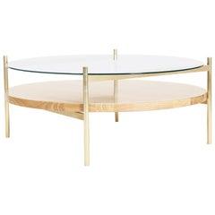 Duotone Circular Coffee Table, Brass Frame / Clear Glass / Ash Wood