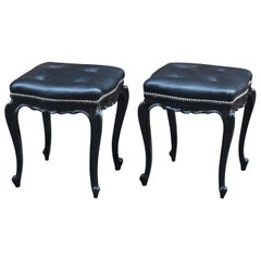 Louis XV Style Black Wood and Leather Italian Midcentury Stools, 1950s