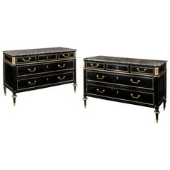 Pair of Ebonised Directoire Brass Mounted Marble Top Commodes