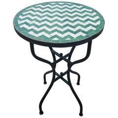 White / Green Moroccan Mosaic Table, Herringbone