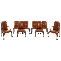 Fine Set of Eight Walnut and Leather Upholstered Dining Chairs