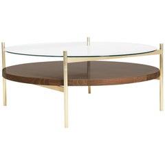 Duotone Circular Coffee Table, Brass Frame / Clear Glass / Walnut Finish