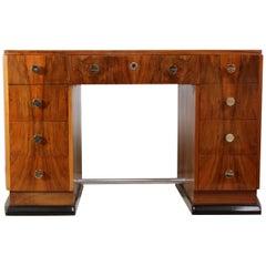 Art Deco Desk in Walnut, French circa 1930