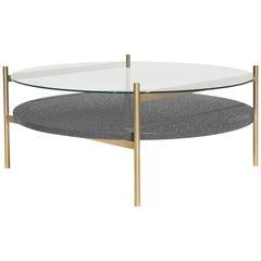 Duotone Circular Coffee Table, Brass Frame / Clear Glass / Black Mosaic