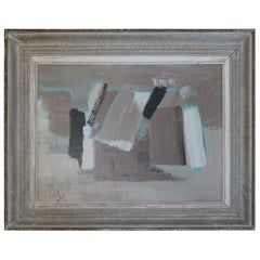 French Abstract Oil Painting, Midcentury