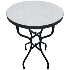 All White Moroccan Mosaic Side Table, CR4