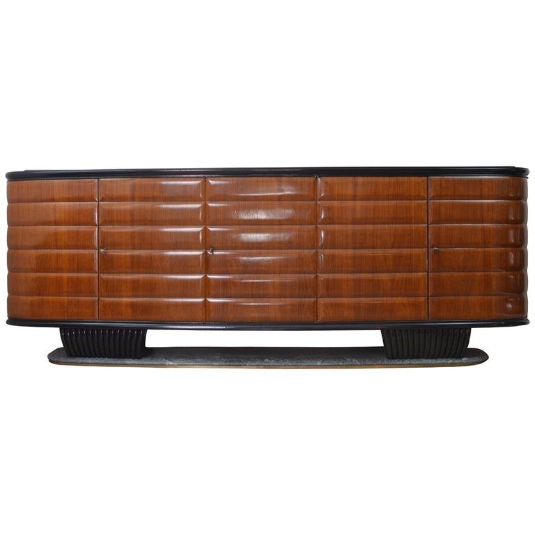 Vittorio Dassi Modern Italian Wood and Green Marble Credenza for Mobili Moderni