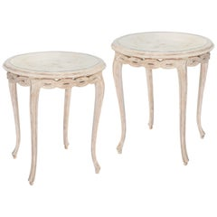 Pair of Italian Painted End Tables with Mirrored Tops