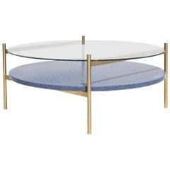 Duotone Circular Coffee Table, Brass Frame / Clear Glass / Blue Mosaic