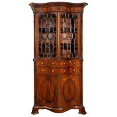 Fine Serpentine Mahogany Secretaire Bookcase in the Manner of Thomas Chippendale